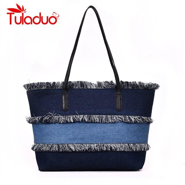 Tuladuo Vintage Denim Bag Luxury Handbags Women Bag Designer Jeans Bag Big  Tote Ladies Pathchwork Handbag f17ddb6ab8