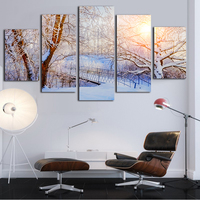 White Snow World Canvas Painting Kit 5 Piece Wall Art Realist Photography Paint And Poster For Living Room Bedroom Decoration