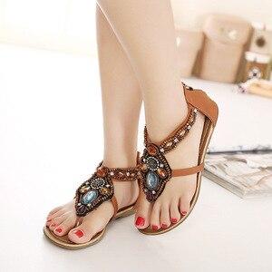 Image 5 - Женские сандалии в богемном стиле GKTINOO, винтажные сандалии на плоской подошве с открытым носком, черные, коричневые шлепанцы, лето 2019