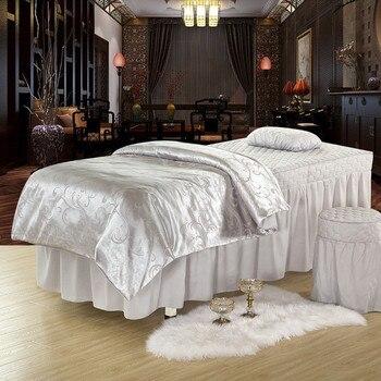 European Style Spa Salon Bedding Sets White Pink Jacquard Nordic Body Beauty Bed Linen Bedsheet Pillow Duvet