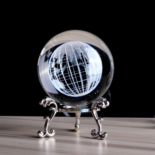 60mm Crystal Ball The Earth Of 3D Laser Engraved 236In Glass Feng Shui Globe Home Decoration Accessories Miniatures Gifts