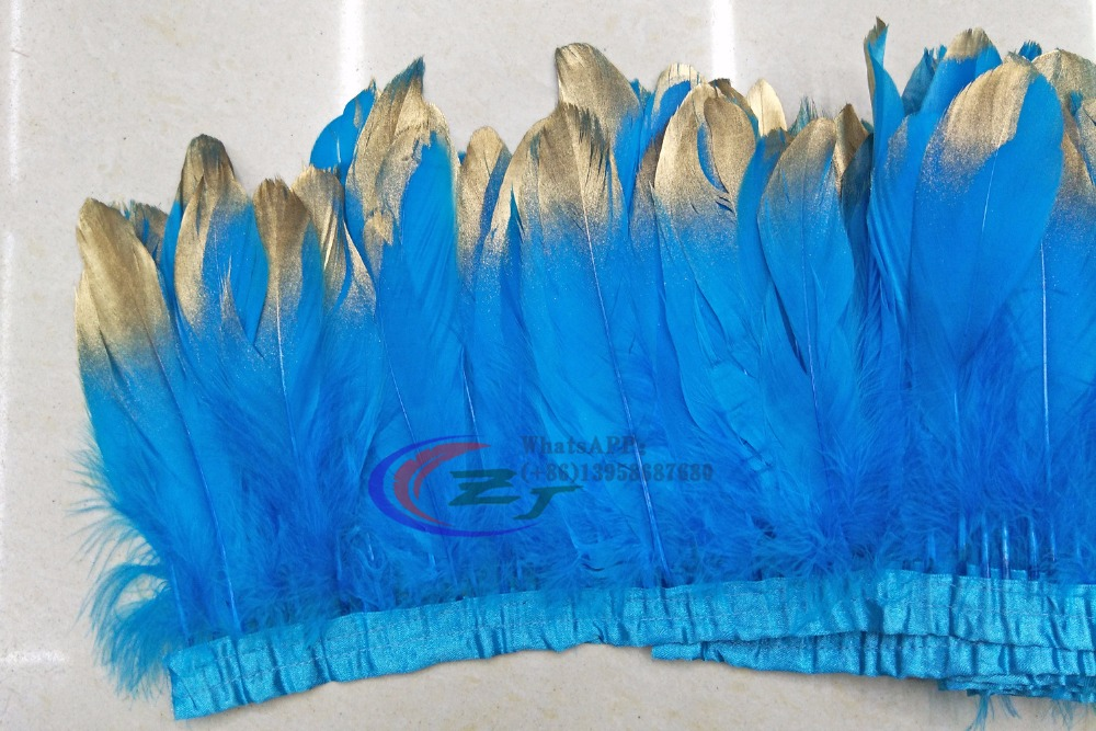10 yards Goose feather trims Gold Painting Spray Turquoise geese feather ribbons 15-18cm Duck feather fringes for dress