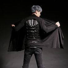 Camiseta de manga larga rasgada con espalda descubierta para hombre, traje de cantante, camisetas punk de hip hop, ropa gótica