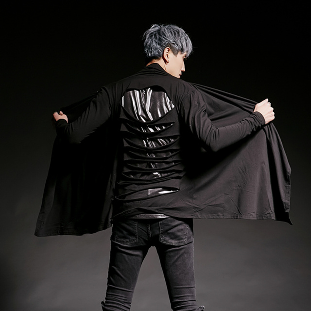 Men nightclub personality back ripped long sleeve t shirt singer stage costume men hip hop punk tee shirts gothic clothes