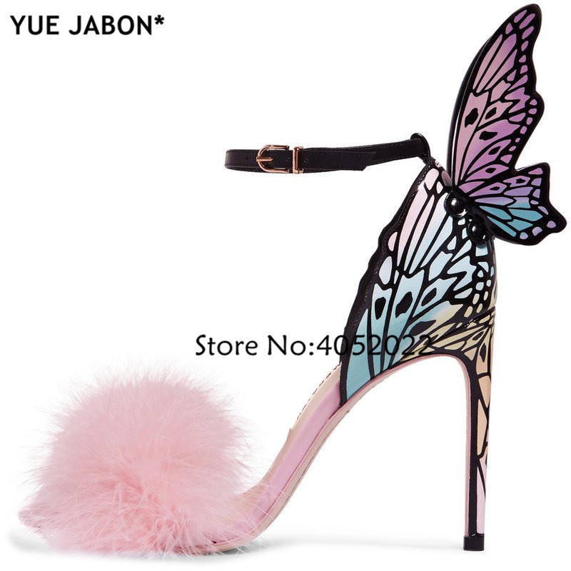 YUE JABON 2019 Newest Pink Feather Butterfly Wing Gladiator Sandals Women Open Toe Sexy Fur High Heel Shoes Woman Wedding Shoes