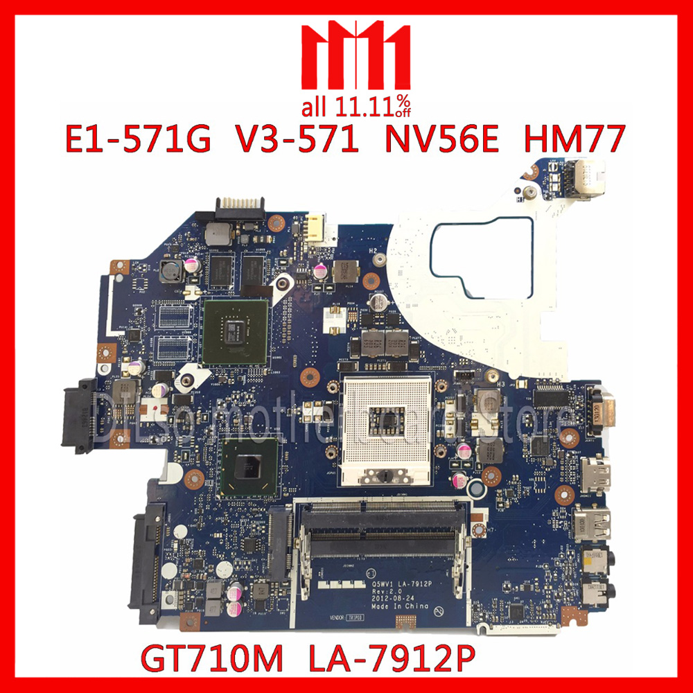 KEFU LA-7912P motherboard fit for ACER Aspire E1-571G V3-571G V3-571 motherboard Q5WV1 LA-7912P GT710M HM77 PGA989 Test laptop us keyboard for dell xps13 9343 9350 9360 backit keyboard touchpad and palmrest assembly