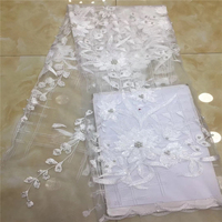 African Lace Fabric, Beautiful Embroidered Tulle Lace Fabric, Handmade Beaded Heavy Lace