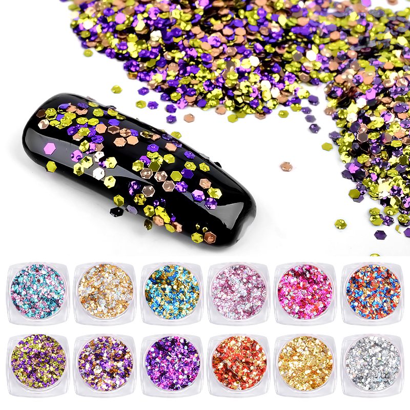 Mixed nail art glitter stickers decorations Ultra-thin hexagon Colorful nail sequins flakes DIY manicure tools 12 boxes / set 15 bag french manicure smile tip guides pedicure diy nail art stickers brand women makeup tools for nail art