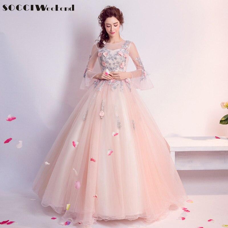 new york 88a6d 15886 US $92.95 45% OFF|SOCCI Rosa Lange Abendkleider Süße Tüll Spitze Prinzessin  Formale Hochzeit Kleid Frauen Elegante Vestido De Festa Longo Kleid-in ...