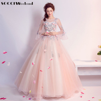 SOCCI 2017 Pink Long Evening Dresses Sweet Tulle Lace Princess Formal Wedding Party Dress Vestido De