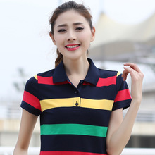 M- 6XL Large Size Cotton Multicolor Striped Ladies Polo Shirt Casual Slimming Women Short Sleeve Polo Shirt Fashion Polo Femme