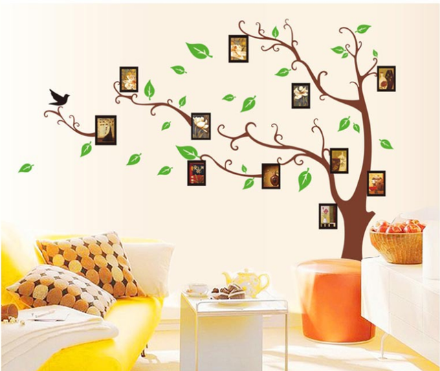 Brown Photo Wall Memory Tree Home Decoration Living Room Bedroom Stickers Poster Wallpaper