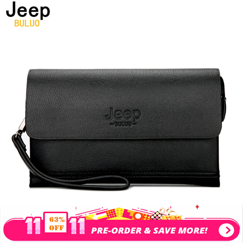 JEEP BULUO Luxury Brand Male Leather Purse Men's Clutch Wallets Handy Bags Business Carteras Mujer handbag Men Black Brown 808-2 2016 luxury male 100% original leather purse men s clutch wallets handy bags business carteras mujer wallets men dollar price