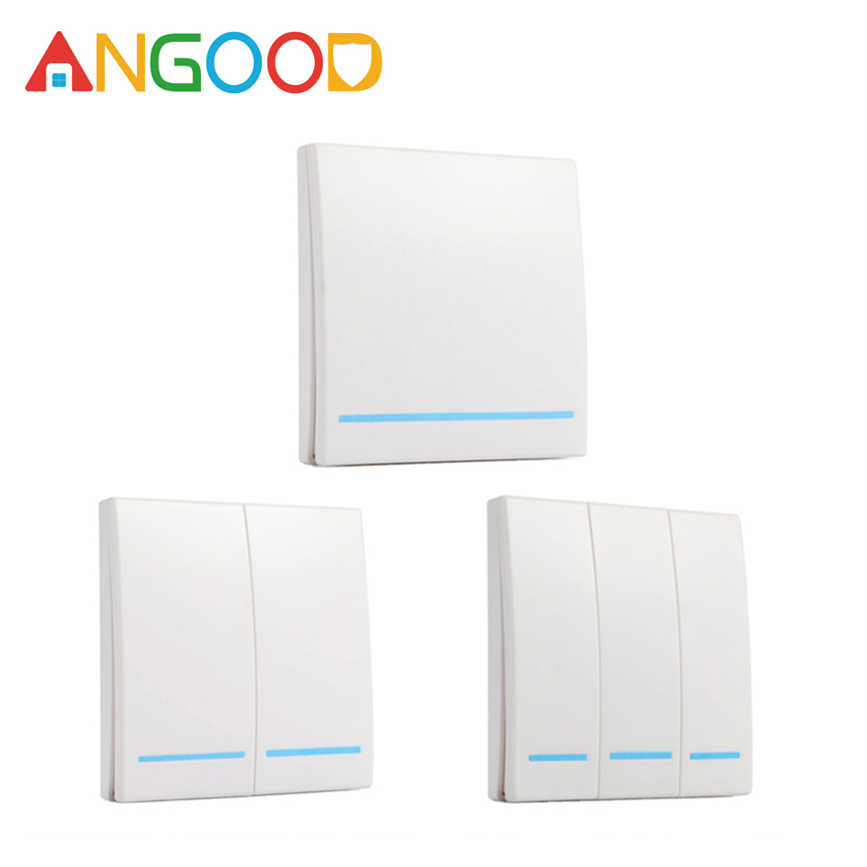 ANGOOD Smart Home 433MHz Wall Panel Wireless Remote Transmitter 1 2 3 Button RF Controller Switch For Light Lamp Smart Control