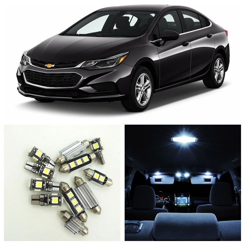 9pcs White LED Light Bulbs Interior Package Kit For 2016 2017 Chevy Chevrolet Cruze Map Dome License Plate Lamp Chevy-B-19