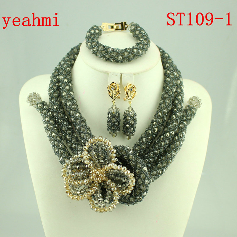 Nigerian Beads Fashion Jewelry Set Wedding Anniversary Bride Gift Necklace Earrings Set Free Shipping ST109-1