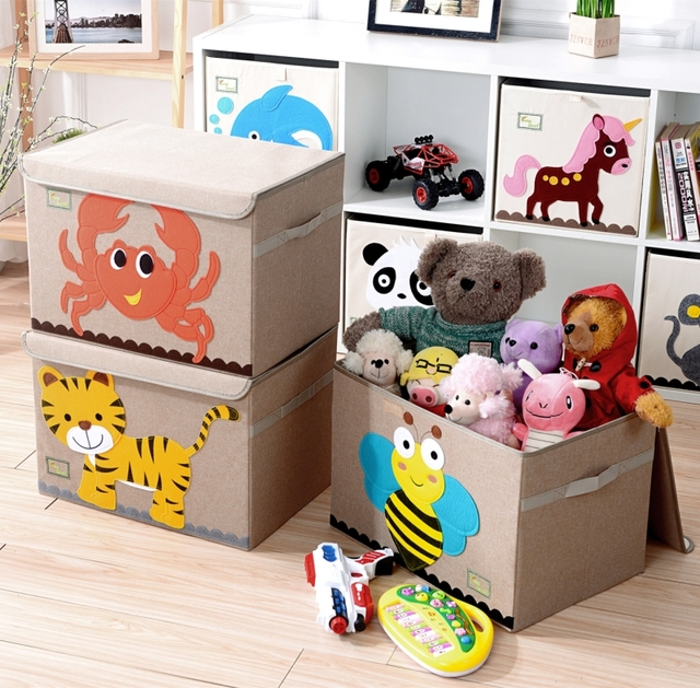 Large Cartoon Folding Cotton Linen Fabric Storage Box Clothes Bins Kids Toy Organizer Home Decoration For Children Gift