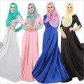 2016 Мусульманских Женщин Абая Кафтан Платье С Длинным Рукавом О-Образным Вырезом Длиной до пола, Украшенные Кружевом Мода хиджаб jilbab кафтан платья