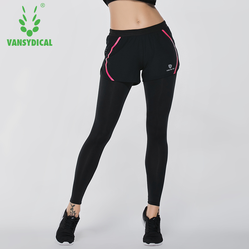 Vansydical Compression 2 In 1 Pants Women Push Up Hips Leggings Tights Female Slim Gym Yoga Leggings Base Layer Bottoms Black