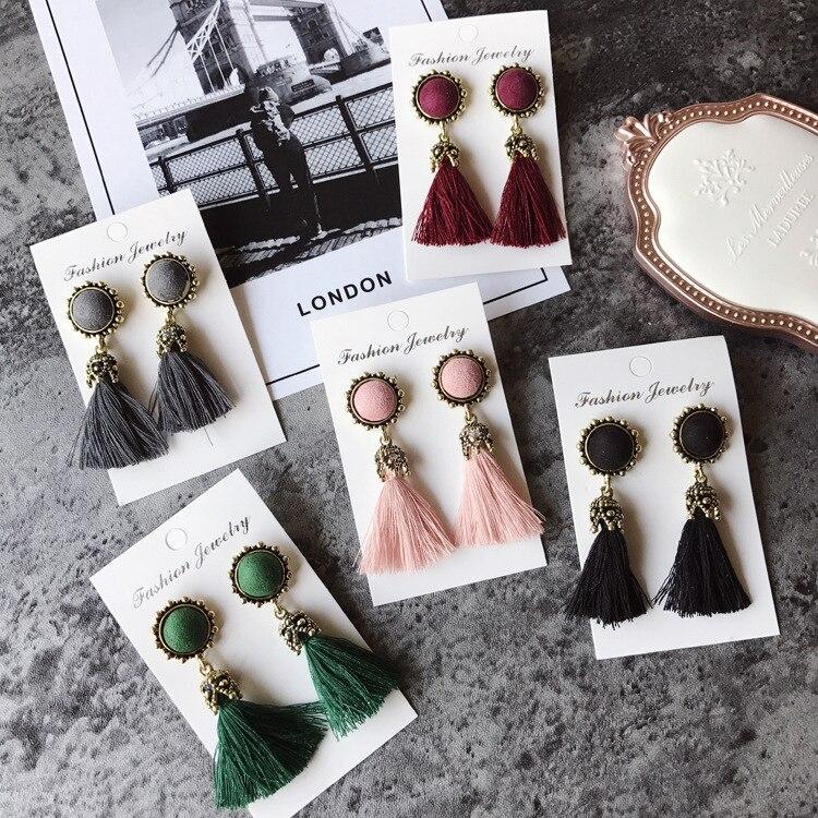 Women Fashion Jewelry Vintage Velvet Ball Statement Fringed Drop Earring Female Jewellery ,Ear Studs gray a 15