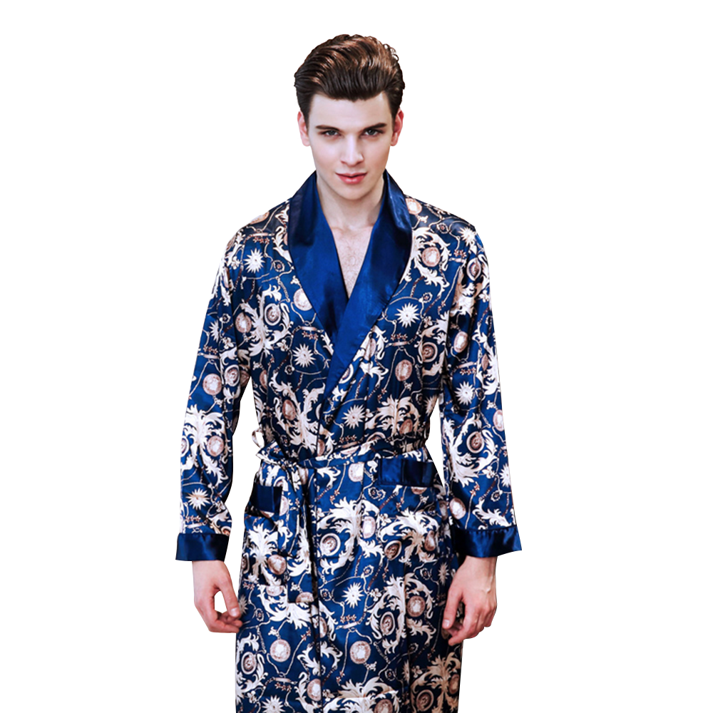 New style mens pyjamas summer imitation silk Printed long-sleeved robe mens home wear