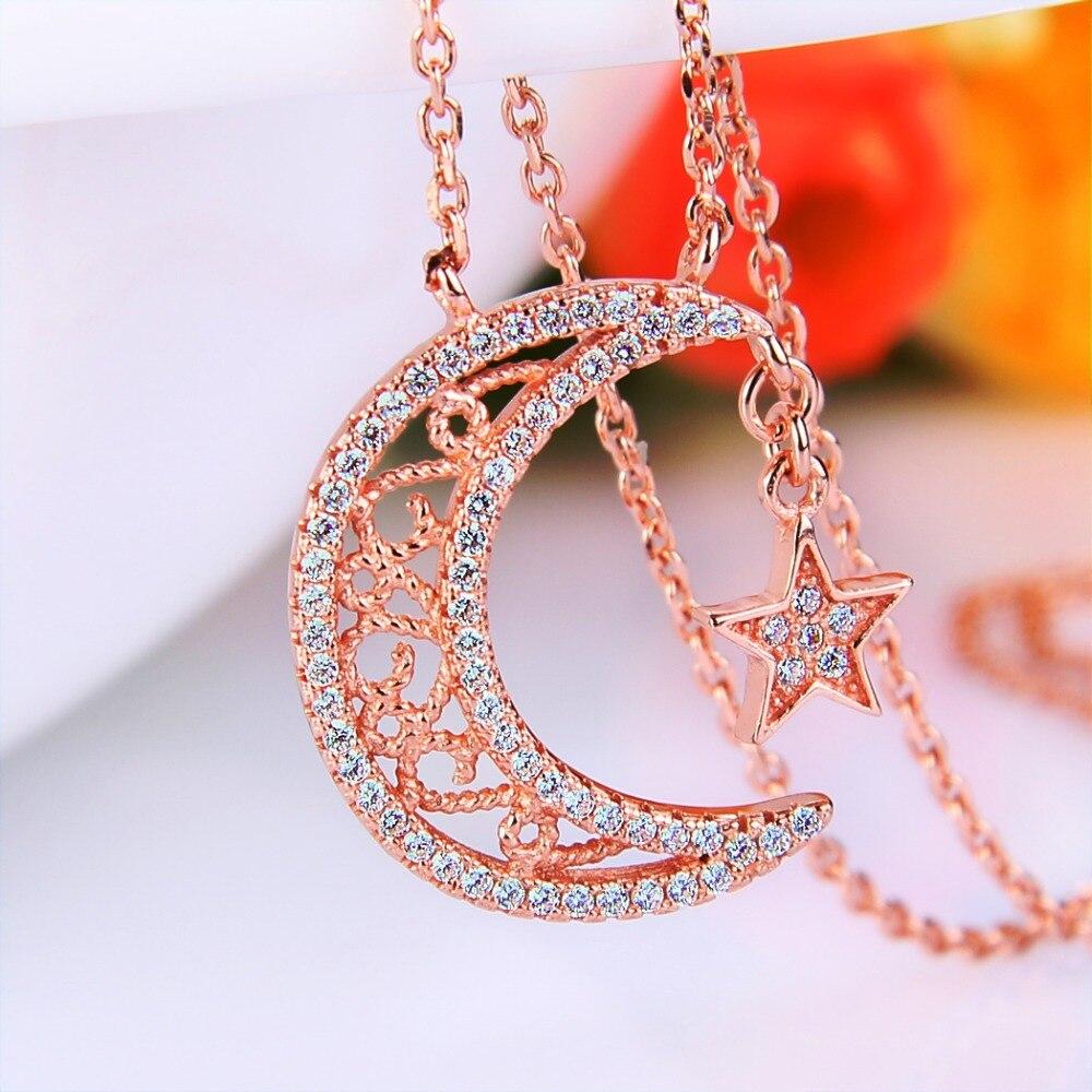 Bella Mode 925 Sterling Argent Lune Étoiles De Mariée Collier Rose Gold Tone Cubique Zircon Pendentif Collier De Mariage Bijoux de Partie