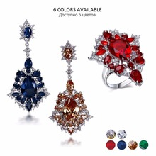 new Professional party jewelry supplier 2016 new fashion sets champagne cubic zirconia platinum plate Sets of Earrings and ring