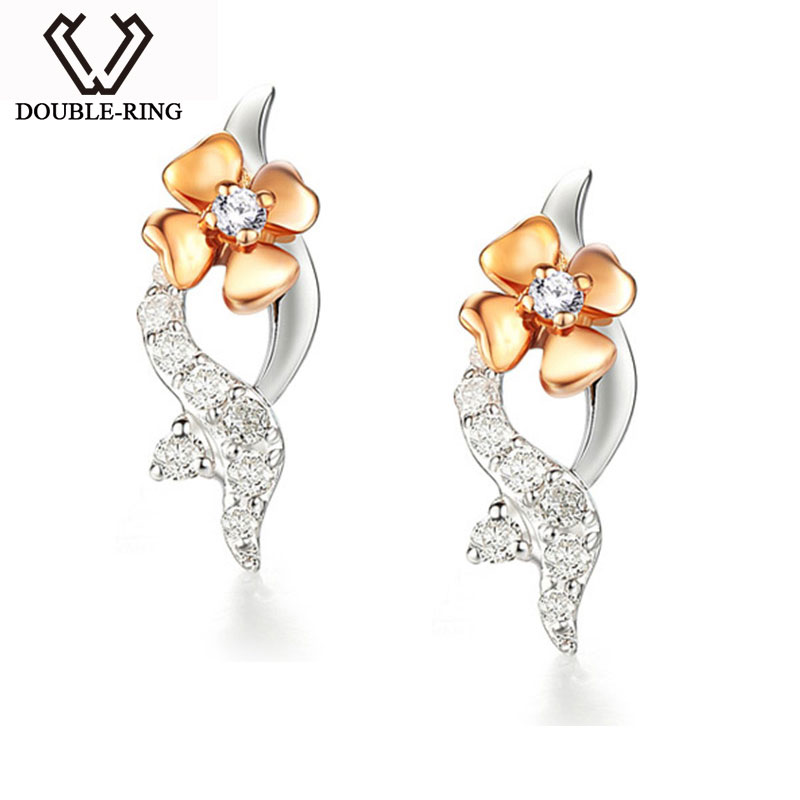 DOUBLE-R Flower 18K Gold earrings Romantic Ladies Bridal Wedding Real Diamond Earrings For Women Gift CAE00555A Joias Ouro 18k кольцо luoyang anel solitario ouro 18k yue83