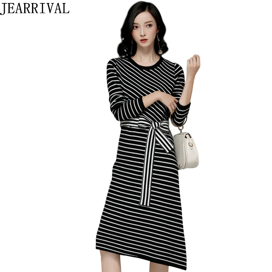 2017 New Women Striped Knitted Dress Casual Long Sleeve Split Hem O Neck Asymmetrical Autumn Winter