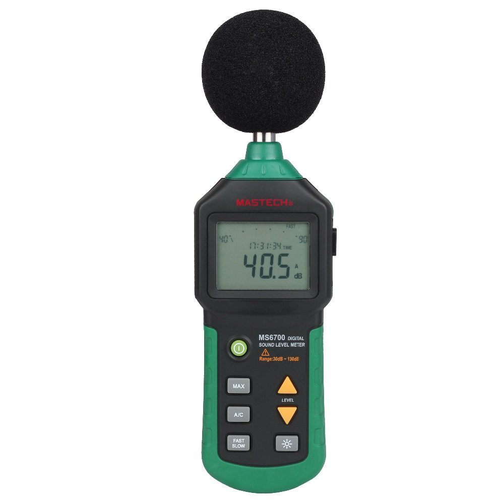MASTECH MS6700 Auto Range Digital Sound Level Meter Tester 30dB to 130dB With Clock and Calendar Function