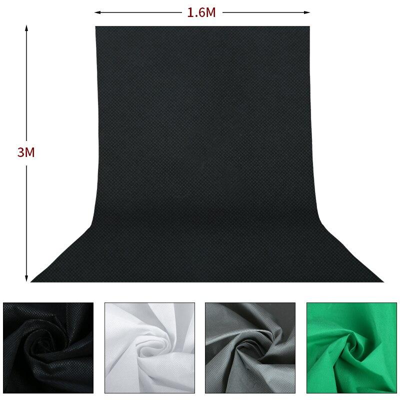 4 pièces 1.6*3 M/5 x 10FT Studio de photographie Non-tissé toile de fond écran 4 couleurs noir blanc vert gris ensemble