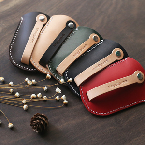 Image 2 - Genuine Leather Personalized Gift handmade vintage car key holder bag wallets  free engraving  Keychain Pouch Purse bag 010