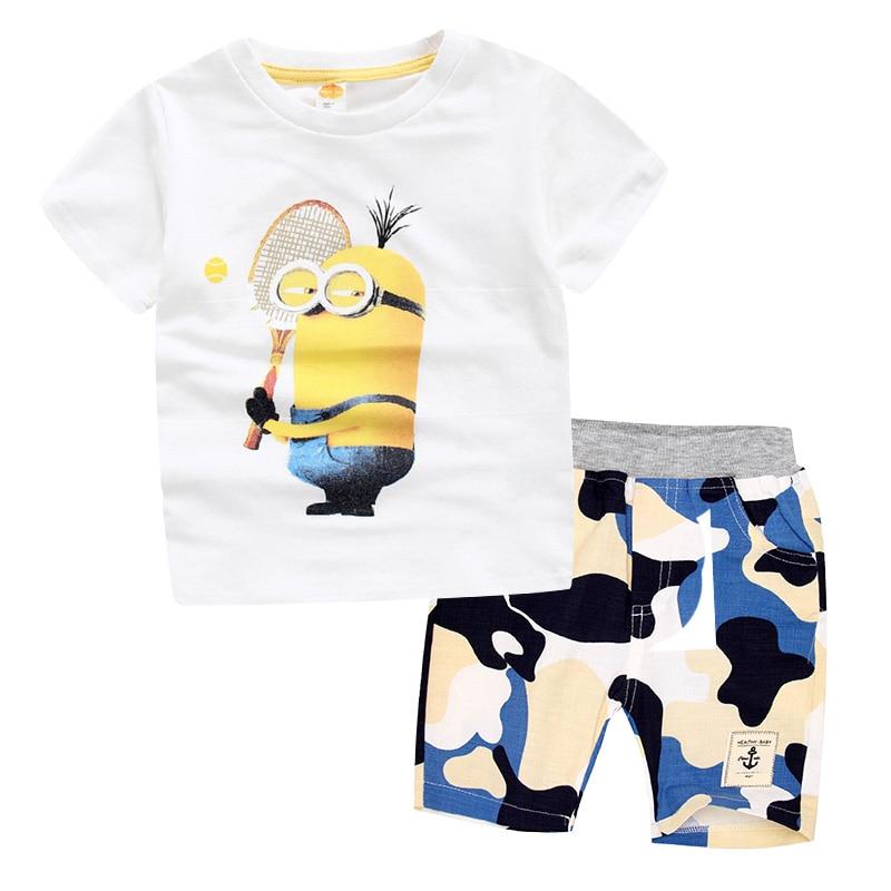 cecd112ef Children Clothing Minions Boys Cotton T Shirt+Shorts Camouflage ...