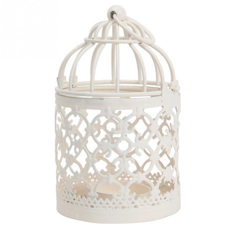 1pc New Vintage Small Iron Bird Cage Wall Flower Decor Candelabrum