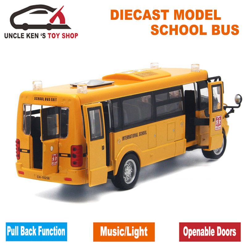 Diecast-School-Bus-Model-22Cm-Metal-Toy-Brand-Alloy-Car-For-Boys-With-Gift-BoxOpenable-DoorsMusicLightPull-Back-Function-2