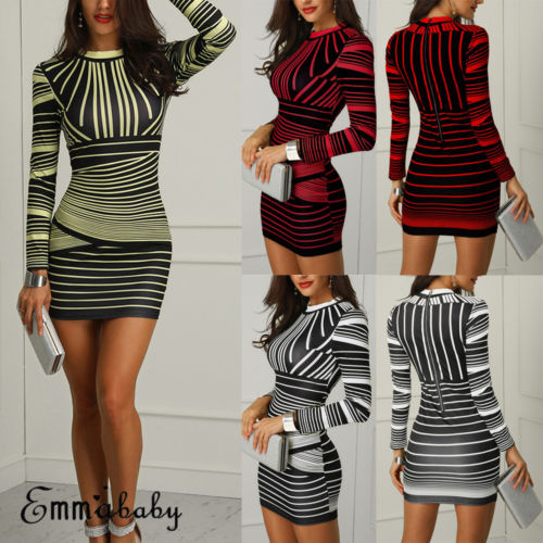 US Sexy Women Bodycon Long Sleeve Stripe Cocktail Club Short Dress