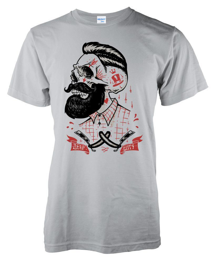 Brand Clothing 2019 Male Top Fitness Brand Clothing Deep Cuts Barber Shop Skull Beard Razor <font><b>Shave</b></font> Tattoo T-<font><b>Shirt</b></font> S-3XL Tee <font><b>Shirt</b></font> image