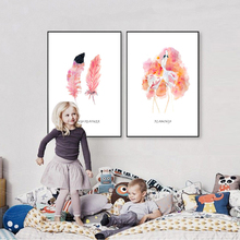 Watercolor Flamingo Feather Canvas Paintings Abstract Pink Nordic Girls Wall Art Poster Picture for Kids Living Room Home Decor