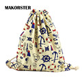 MAKORSTER European and American Style women Backpacks Canvas drawstring bag Patchwork backpacks&carriers small backpack DJ0118