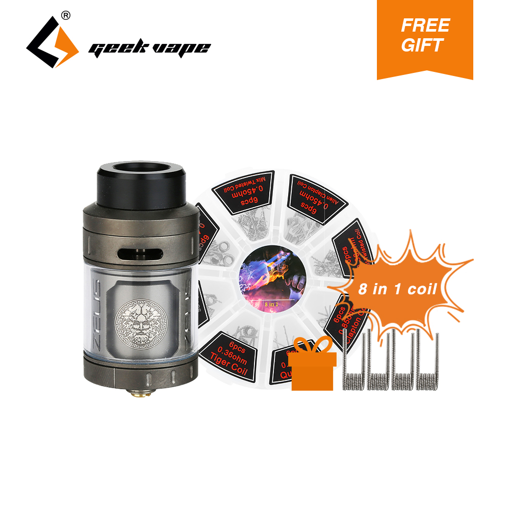 GeekVape Zeus RTA Tank Atomizer 4ml Capacity 25mm Diameter RTA Atomizer Fit Most 510 E-cig Mod & Spare Glass Tube for DIY Fans 1 2pcs about 4ml 5 5ml glass tube replacement for geekvape zeus 25mm single coil rta tank or geekvape zeus dual rta 26mm tank