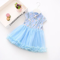 Baby Girls Chinese Style Lace Dresses 2017 Summer Print Princess Party Dress Ball Gown Cotton Sleeveless