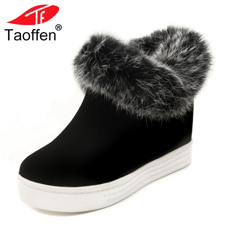 TAOFFEN Women Wedges Ankle Boots Thick Fur Winter Shoes Women Platform Inside Heel Warm Snow Boots Concise Shoes Size 34-44 rizabina cold winter snow shoes women real leather warm fur inside ankle boots women thick platform warm winter botas size 34 39