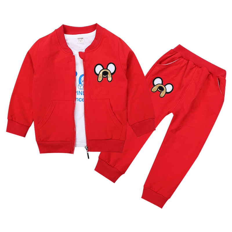 2018 New Children Girls Boys Fashion Clothing Sets Spring Autumn 3 Piece Suit zipper Coat Clothes Baby Cotton Brand Tracksuits