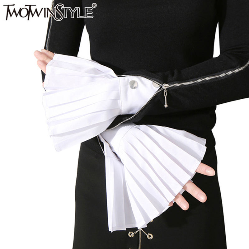 TWOTWINSTYLE Pleated Cuff For Women Flare Cuffs Accessories 2019 Fashion Vintage Spring Three Colours