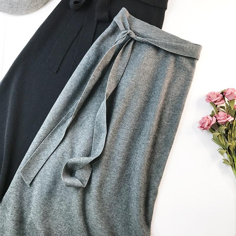 344 water velvet knit skirt women 2018 autumn and winter new women's long section high waist bag hip split A skirts 18