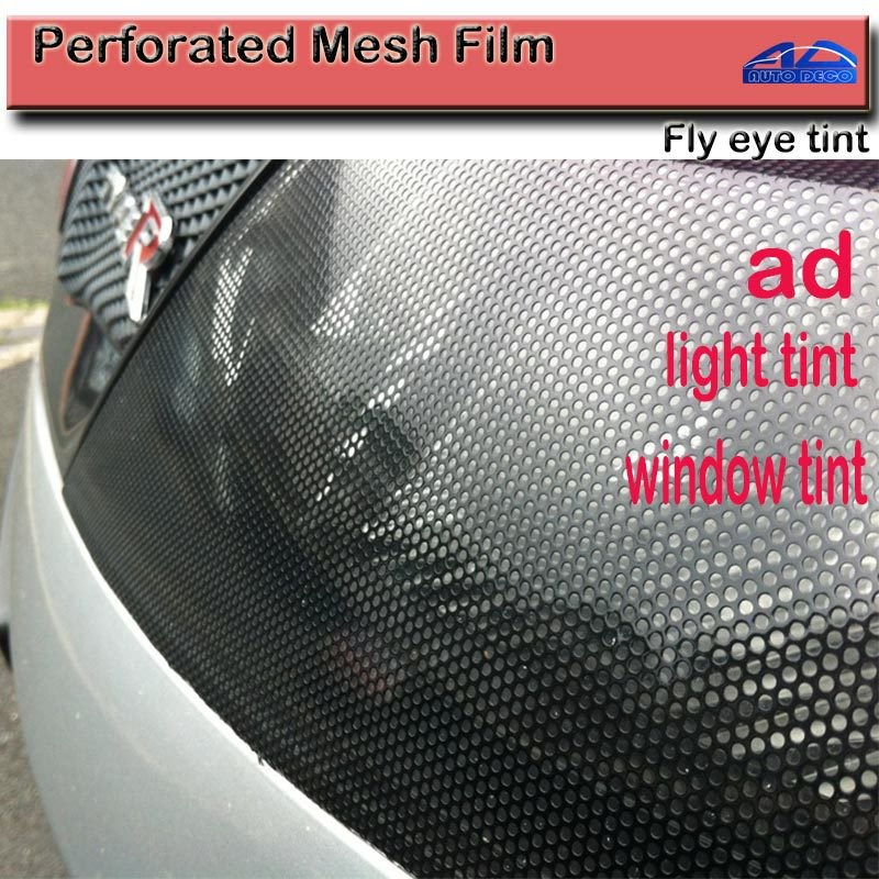 Top Quality Perforated Mesh Film Black Fly Eye Tint Tail Light Tint Car Window Tint size:1.07x50m FedEx Free shipping light tint