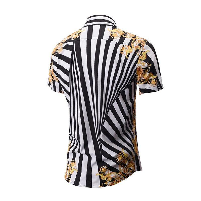 Summer New Men's Wear Originality Stripe 3D Printing men Shirt slim Street Youth Tide Brand mens Fashion shirts Shirt camisa