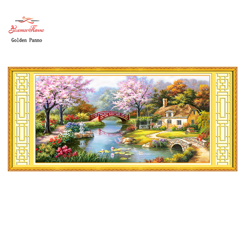 Golden Panno Needlework DIY landscape cross stitch European oil painting Garden cabin Sets For Embroidery kit