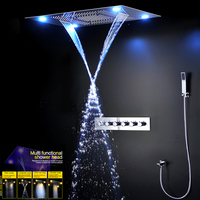 Bathroom Faucet Thermostatic Concealed Shower Panel Stainless Steel 304 Multifunction LED Large Rainfall SPA Luxury Shower