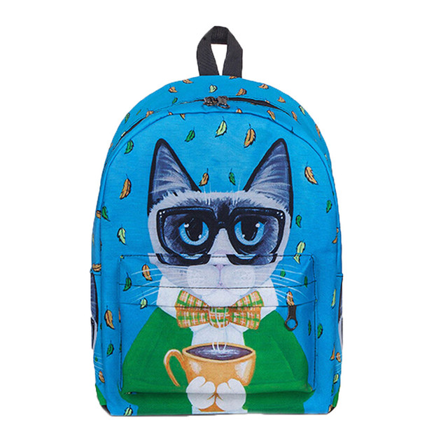 Women s Cute Cat Backpack School Women Backpacks Girls Funny Cats Canvas  Shoulder Bag High Quality Female 4890efd7c4898